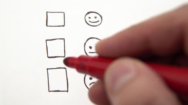 Human hand marking unhappy smile face, tick placed on bad check box. Customer service survey, bad rating