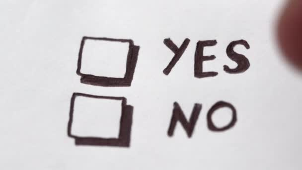 Human hand marking yes on checklist, tick placed on excellent check box. Customer service survey, satisfaction symbol
