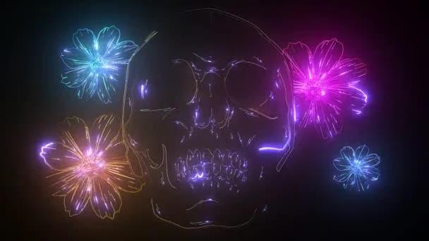 Skull profile in roses neon sign. Tattoo or logo design. Night bright neon sign, colorful billboard, light banner