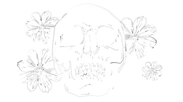 Illustration on white background. Skull and roses and peonies flowers. . Black and white.