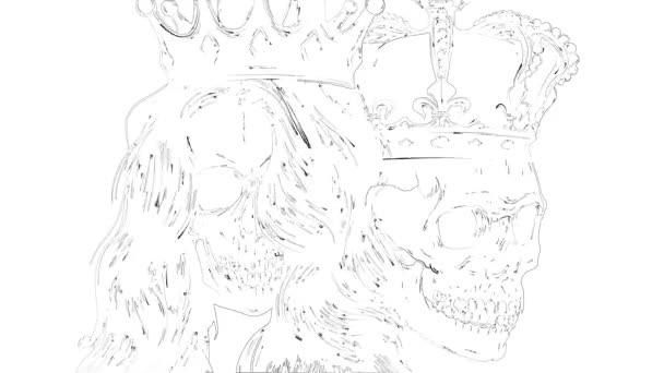 A halál királya és királynője. A koponya portréja koronával.