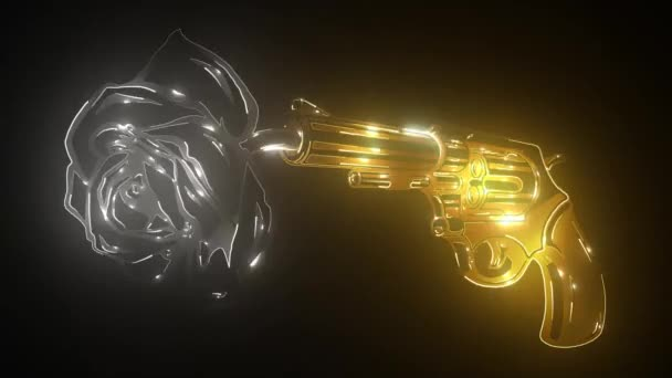 Retro golden gun and rose. vintage revolver and blooming flower.