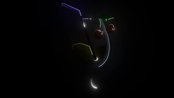 Ikona koktejlů. Růžové a modré plážové koktejlové brýle se slámou zářící symbol ilustrace. Noční život osvětloval izolované klima.