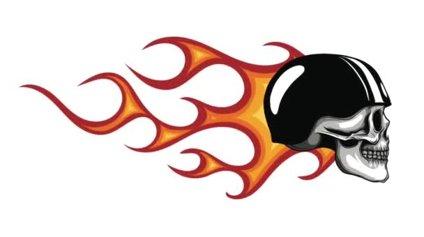 skull with flames as a warning or evil concept.