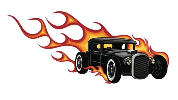 Fiery retro sports car design template with flames