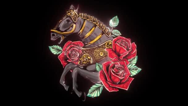 Portré a barna ló bazsarózsa virágok és páfrány levelek.