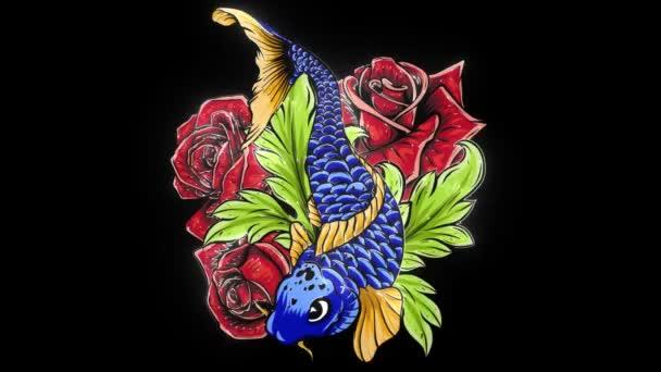 Koi, ponty hal bazsarózsa virágokkal, lótuszokkal és vízfröccsenésekkel. videó animáció