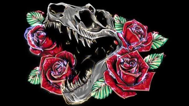 üvöltő tyrannosaurus rex és rózsa keret.