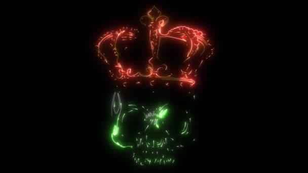 A halál királya. Koponya portréja koronás videóval