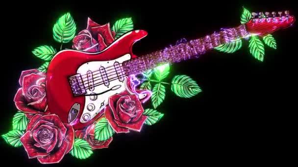 Absztrakt gitár vörös rózsával. videó