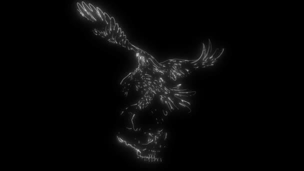 Animation eines Adlers mit Totenkopf, der aufleuchtet