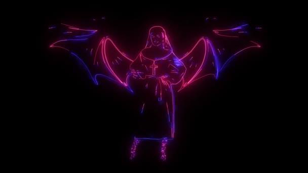 digitální animace jeptišky rozsvěcující neonový styl