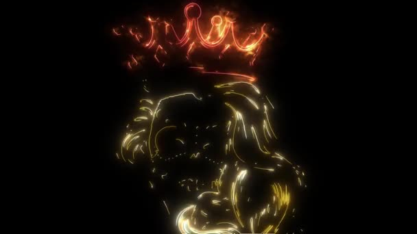 digital animation of a queen skull that lighting up on neon style