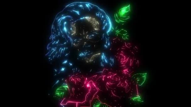 digitale Animation einer Frau mit Rosen, die im Neon-Stil leuchten