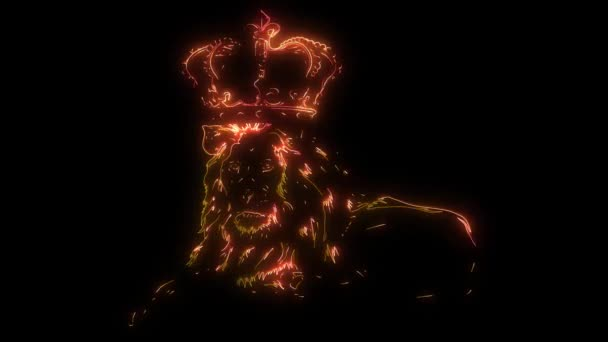 digital animation of a lion with crown that lighting up on neon style
