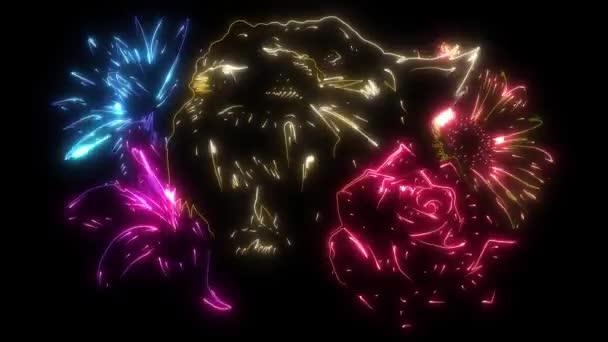 digitális animáció egy tigris virág, hogy világít a neon stílus