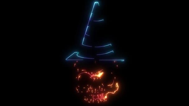 Digitale Animation eines Totenkopfes mit Hut, der im Neon-Stil leuchtet