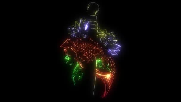 digitális animáció egy catp virág, hogy világít a neon stílus