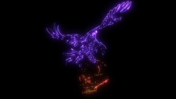 Digitale Animation eines Adlers mit Totenkopf, der im Neon-Stil leuchtet