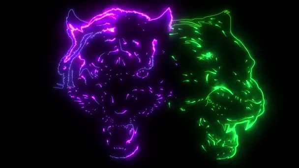digital animation of a tiger and jaguar that lighting up on neon style