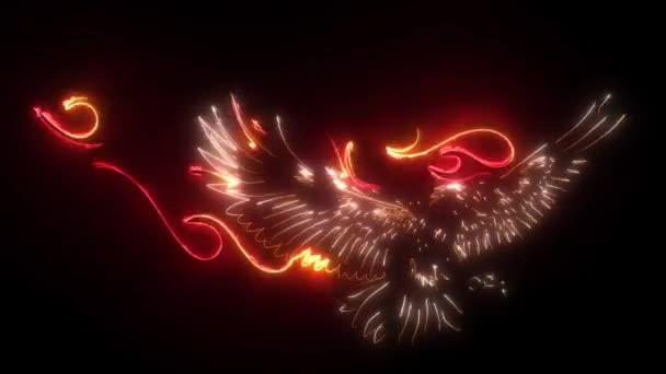 digitális animáció egy lángoló sas, hogy világít a neon stílus