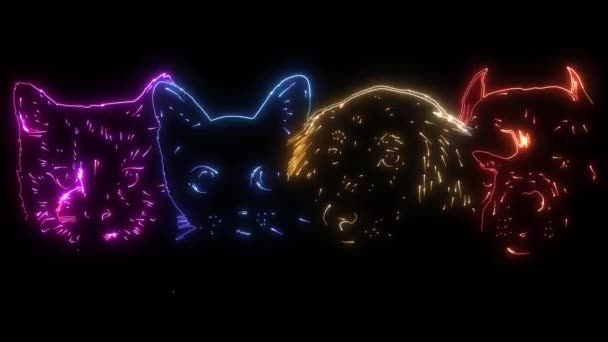 Digitale Animation eines Hundes und einer Katze, die im Neon-Stil leuchtet