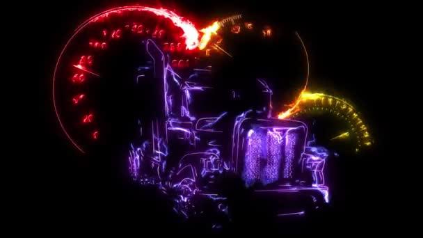 digitális animáció egy Camion, hogy világít a neon stílus
