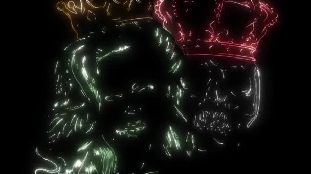 digital animation of a king and queen skull that lighting up on neon style