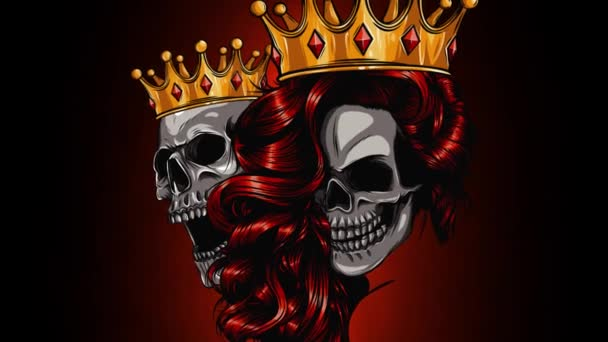 King and queen of death. Portrait of a skull with a crown. video