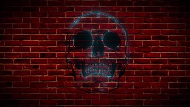 Neonjel, egy rózsás koponya szimbóluma, egy fényes, világító hirdetőtábla.