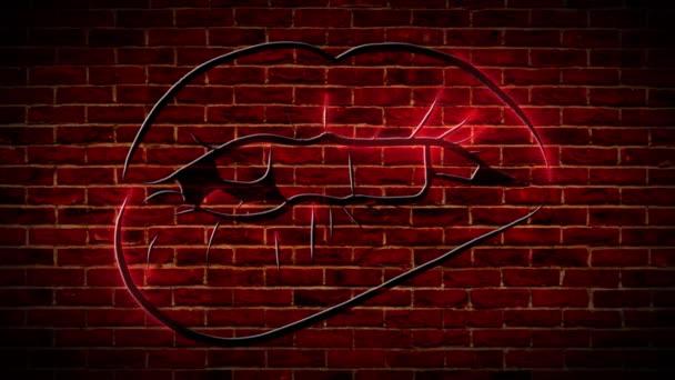 Neon-Licht-Kuss-Zeichen an der Wand Hintergrund-Video