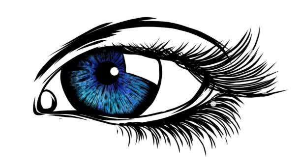 krásná žena modré oko video animace