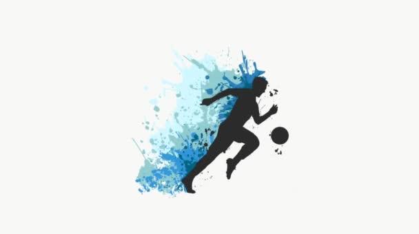 Fotbalista kopající míč video sportu