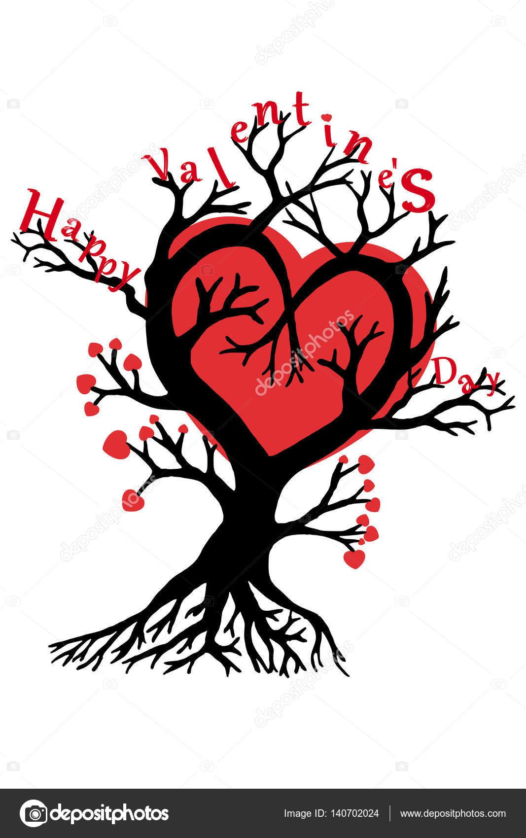 Happy Valentine S Day Tree With Hearts Stock Vector
