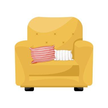 Cartoon yellow armchair with  pair of decorative cushions . Vector illustration