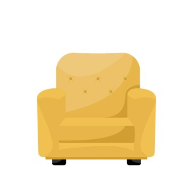 Cartoon yellow livingroom armchair. Vector illustration