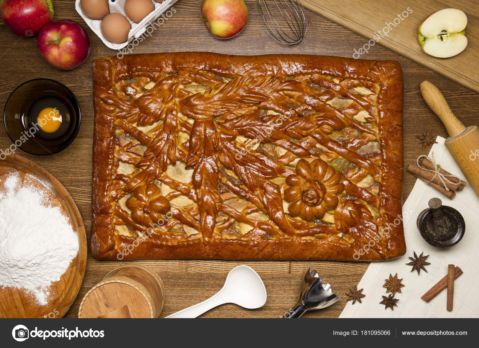 Tarta Manzana Con Ingredientes Condimentos Utensilios Cocina Para
