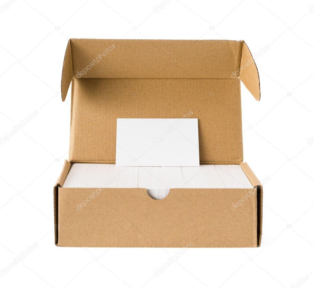 Boite De Cartes Visite Avec Un Bon Pour Texte Logo Blanc Se Trouve Sur Le Dessus Y Compris Trace Detourage Images Stock Libres