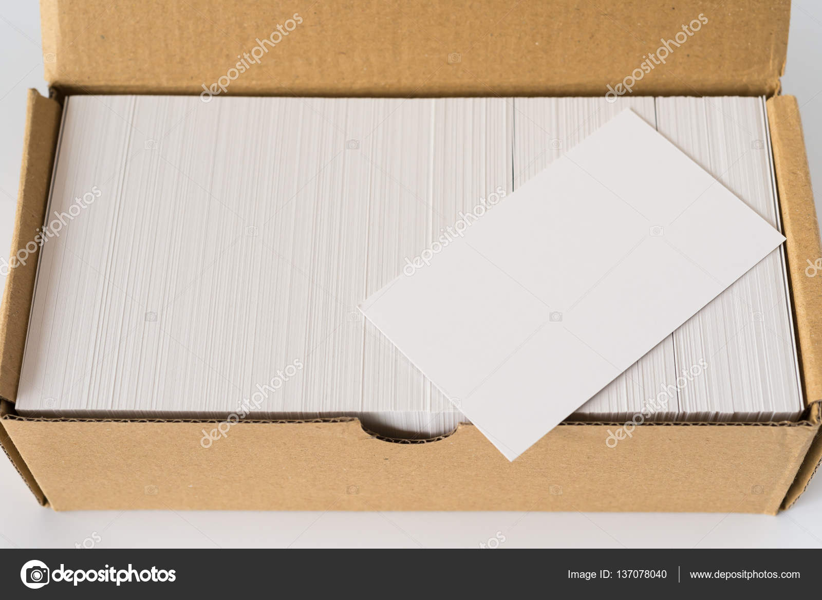 Ansicht Von Oben Box Von Visitenkarten Mit Eine Leere Gut