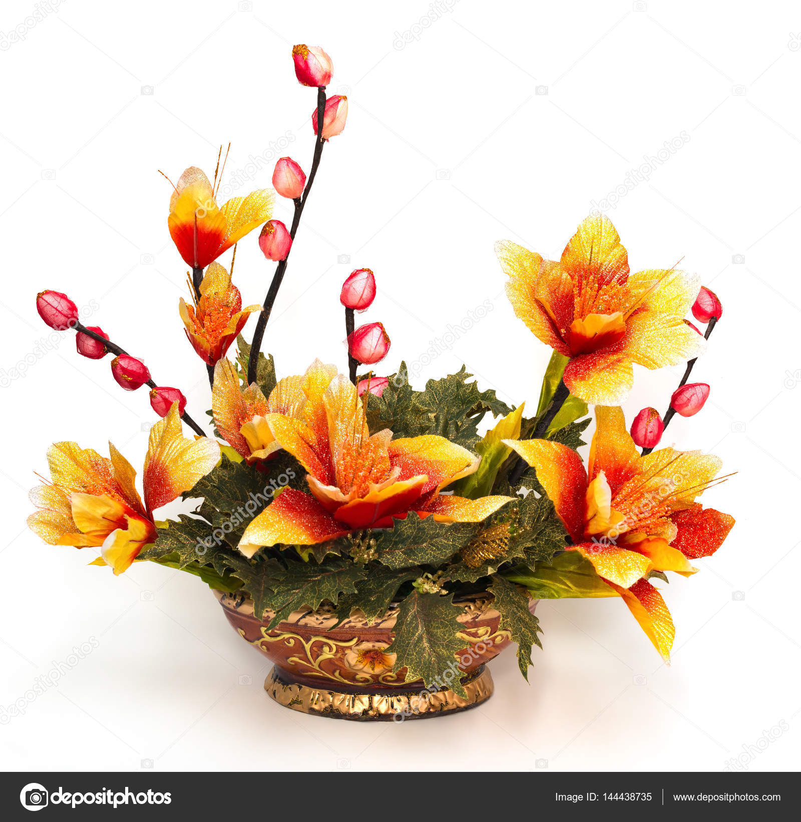 Pot Of Beautiful Artificial Flowers On A White Background Stock