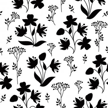 Pattern with leaves, berries and flowers