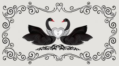 Two black swans with heart decoration