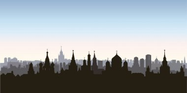 Moscow city buildings silhouette