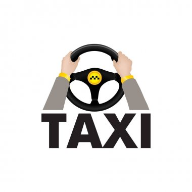 Taxi driver hands  with steering wheel and lettering TAXI. Taxi servise sign