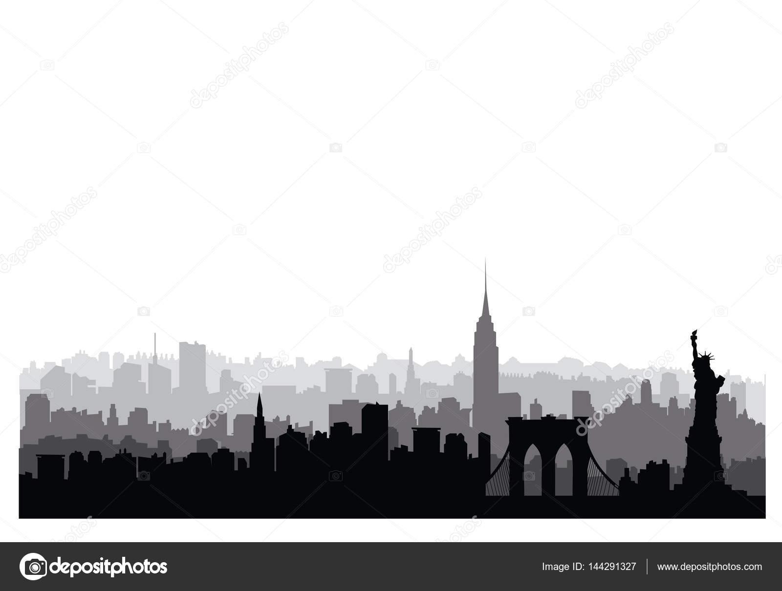 silueta de edificios de nueva york u vector de stock