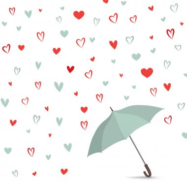 Hearts background with umbrella.