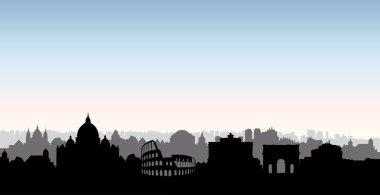 Rome city buildings silhouette