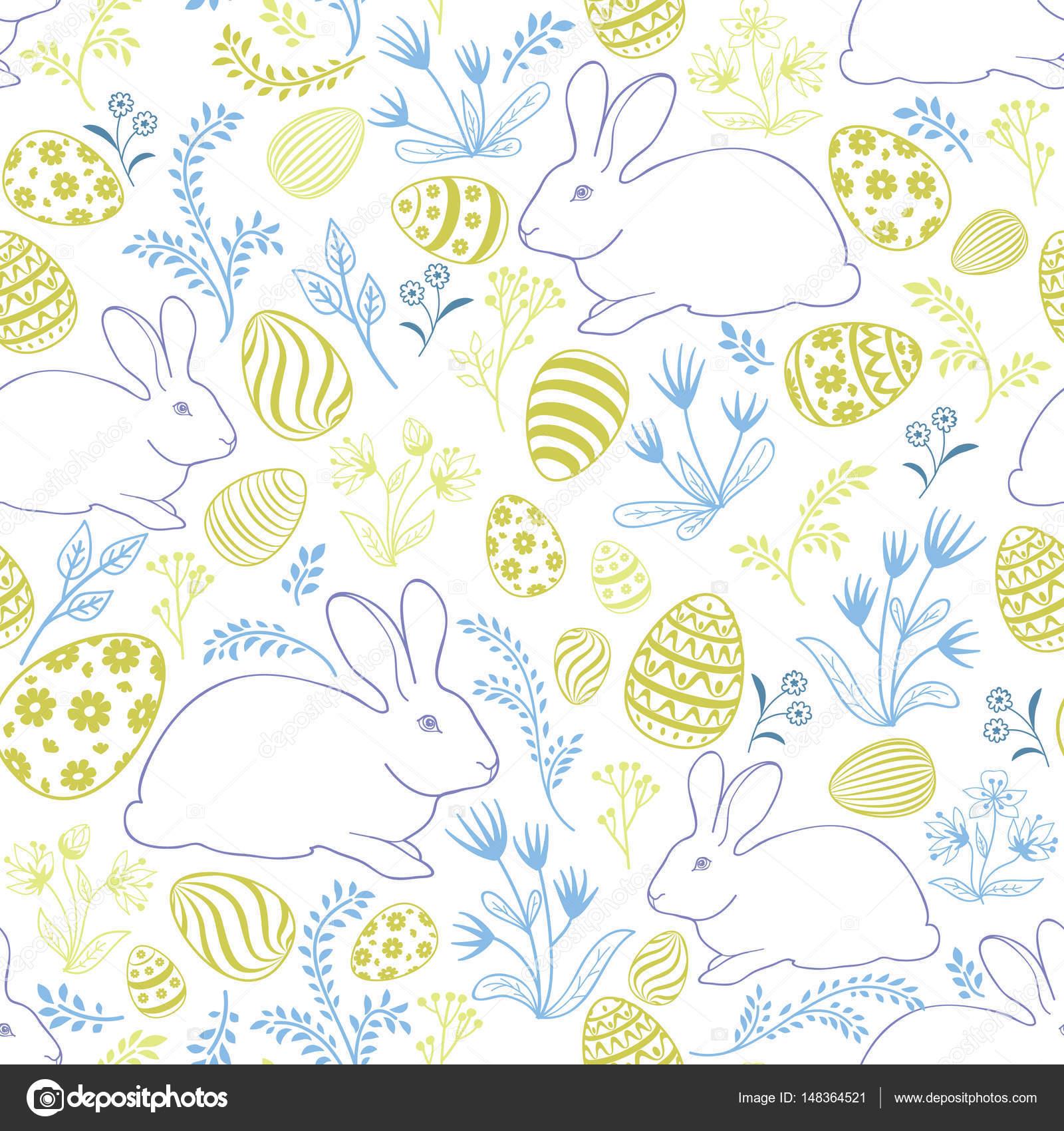 patrón sin costuras huevos y conejos de Pascua — Vector de stock ...
