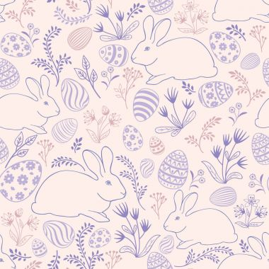 Easter eggs and bunnies seamless pattern.