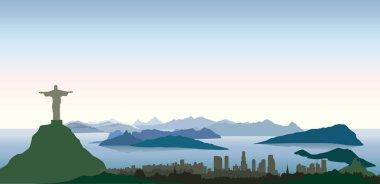 Rio de Janeiro city lagoon skyline. Cityscape silhouette with mountains. Urban background clip art vector